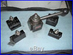 Aloris BXA Quick Change Tool Post, Wedge Type Clamp, with 4 piece Set of Holders